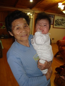 Eggie (Baby) Jung-Min with Great-Grandmother at Chunbok homestay
